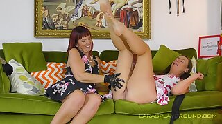 Sweet British women in a magic oral display on burnish apply couch