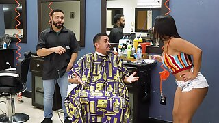 Electrifying barber shop fuck for attentive Rose Monroe