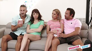 Two horny dads swap stepdaughter for hardcore foursome sex