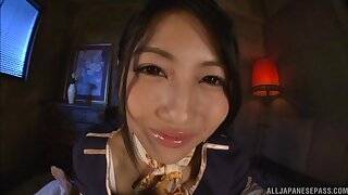 Naughty Japanese model Saionji Reo uses her toes and fingertips