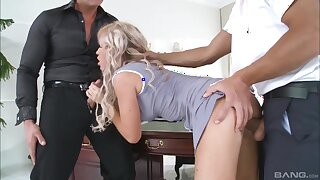 Double penetration MMF 3-way with reference to busty blonde amateur Sveta