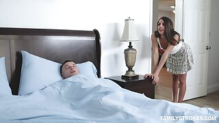 Energized babe walks into the brush brother's room be required of a morning doze