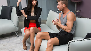 Gianna Dior gets worked OUT and stretched HARD by her married trainer