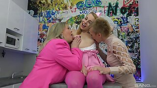 Kinky superannuated and young lesbian threeway with cute Jane Darling