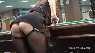 Miasmic mom flashing big ass while playing Billiards in public come together bar - exhibitionist in solo fetish