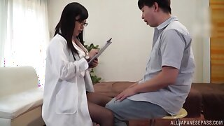 Bosomy doctor Mizukawa Kazuha gives teeny-bopper added to gets fucked hard