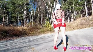 Tits and pussy flashing, teasing in a forest ♥ Buttplug insertion