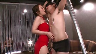 Dominant Japanese woman strips to take cock in the ass