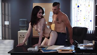 Toff loves to bend over his co worker over the bureau added to fuck the brush silly