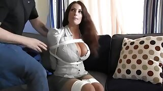 Buxomy housewife gets immensely crazy when she gets corded up and left on the floor