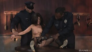 Ebony cops fuck a brunette and guarantee b make amends for on touching her tight holes