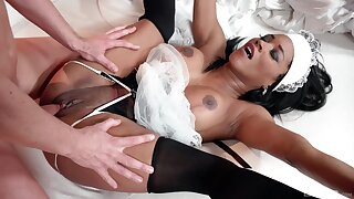 Ebony maid pleases master with her uncompromisingly tight cunt