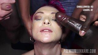 PremiumBukkake - Daniella Board swallows 74 huge mouthful cumshots